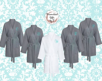 8 Getting Ready Robes,  Bridesmaid Robe, Set of 8 ,Monogrammed Robe, Waffle Robe, Personalized Bridesmaids Gifts