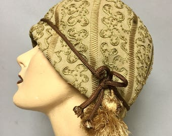 Fab 1960's Mr. John Jr. CLOCHE Hat / 60's Designer Hat / Vintage FLAPPER Hat with SOUTACHE Trim