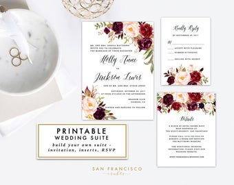 Floral Wedding Invitation Suite, Red Roses, Watercolor, Holly Collection - PDF or JPG Digital Files
