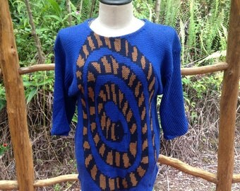 Snake top, Medium/Large loose fit sweater dress, cotton knit tunic, gift for her, wearable art clothing, curled up snake on sweater