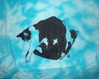 sky blue tie dye t-shirts 2 cats cuddling size men's XL