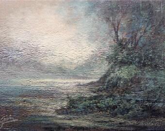Mystic river, Rustic wood panel, Original Acrylic Tonalist Painting by Griselda Tello