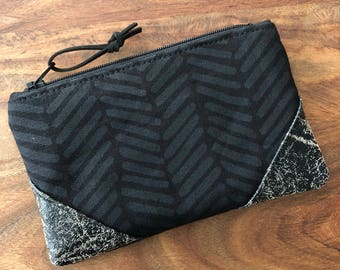 Small Zip Pouch - Monochrome Black Herringbone