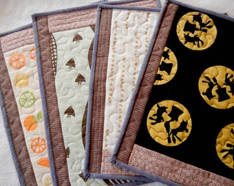 Japanese Tenugui Quilted Placemats - set of 5 (3)