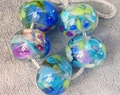 Koi Pond Lampwork Spacer Handmade frit Glass Beads Blue Purple Lilac over clear Choose 2 4 5 or 6 bead sets
