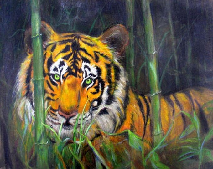 "Tiger In the Jungle Fine Art Print, 8"" x 10"" signed Giclee"