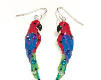 Parrot Earrings Tropical Fun Bright Hand Painted