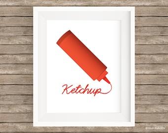 Ketchup Digital Art Print / Red Ketchup Bottle Wall Art / P0001