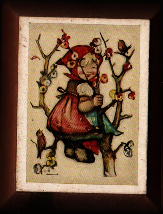 Hummel Wooden Hanging Plaque – Little Blonde Girl in Kerchief Climbing Tree - Vintage Home Decor