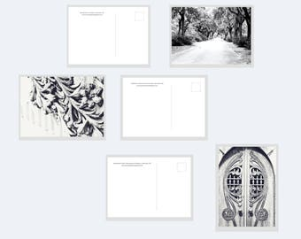 Set of 3 Cemetery Photo Postcards, black and white postcards, art postcards, cemetery art