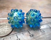 Tri-color Veiled Hobnail Bump Hollow Glass Bead Pair (2) SRA Artisan Handmade Lampwork Glass Beads by Beth Mellor Beeboo