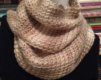 SALE Beige and Sand Textured Knit Scarf