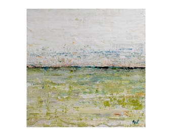 ORIGINAL Minimalist Abstract Art, Acrylic Painting on Wood, Modern Art, GeoHorizon 65 by Lisa Carney, Zen Landscape Art, Beach House Art