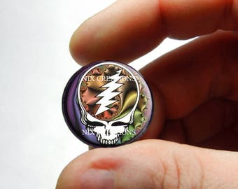Glass Cabochon - Grateful Dead Steal Face Head Design 9  - for Jewelry and Pendant Making