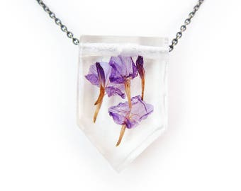 Dried Flower Eco Resin Nature Necklace