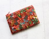 Cute jungle print zippered bag - inexpensive gifts for her - red zip pouch - cute coin purse - floral bag - animal print bag - pouches