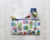 Cactus pencil pouch - teachers bag - planner pouch - cactus pen case - school supplies - cactus print bag - pen case - gift for her