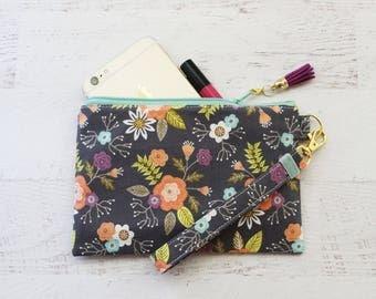 Floral wristlet - gray key fob wristlet - flower print wristlet wallet - iphone wristlet - small grey wristlet - small floral wristlet bag