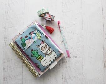 Llama bag - pencil pouch - mini happy planner cover - llama planner accessories - small TN cover - zippered pouch - alpaca pouch