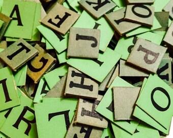 SALE 10pcs VINTAGE GREEN Letters Paper Ephemera Anagram Tiles Lucky Dip