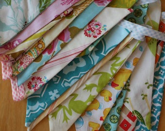 Extra Long Do it Yourself Custom Bunting Flag Banner Garland Kit.  Cute Decoration Featuring Designer Fabrics.  You Sew it.