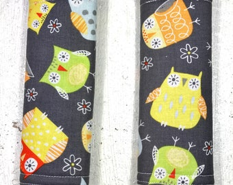 Owls Baby Seat Belt Covers - Infant - Car Seat Accessory - Strap cover - owl - baby girl