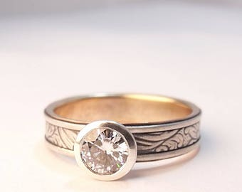Engagement Ring Engagement Band Moissanite Engagement Sunflower Silver 14k Yellow Gold Engagement Ring Womens Engagement Womens Wedding Band