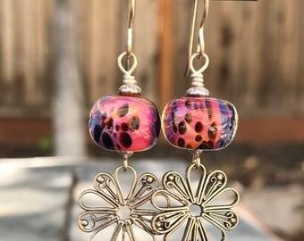 Lampwork Earrings, Glass Earrings, Sterling Silver Earrings, Dangle Earrings, Bright Pink with Black Spots and Daisy Charm