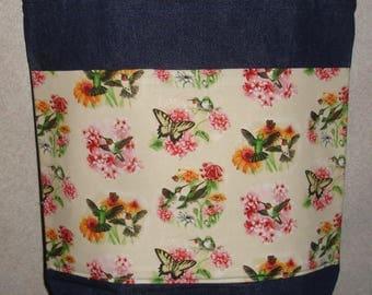New Large Handmade Hummingbird Butterfly Garden Flower Scenes Denim Tote Bag