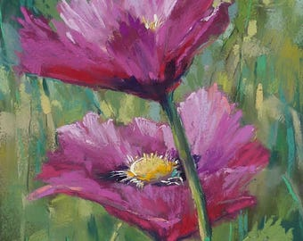 Original Pastel Painting Poppy PINK 10x8  by Karen Margulis psa