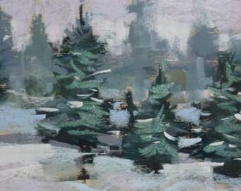 Winter Landscape Contemporary Original Pastel Painting  Karen Margulis 7x11