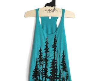 Medium- Tri-Blend Teal Racerback Tank with Evergreen Trees Screen Print