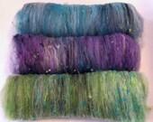 Smoothish Art Batt Set- 'Aphrodite J22-08'- 5 oz Spinning, Felting, Weaving, Papermaking Fiber