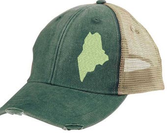 Distressed Snapback Trucker Hat -  Maine off-center state pride hat - Many Colors available