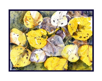Watercolor Fall Aspen Leave Note Cards, Aspen Tree Prints, Autumn Leaves, Card Sets, Gift Box, Stocking Stuffers