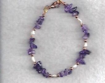 ON SALE Amethyst & Pearl Bracelet
