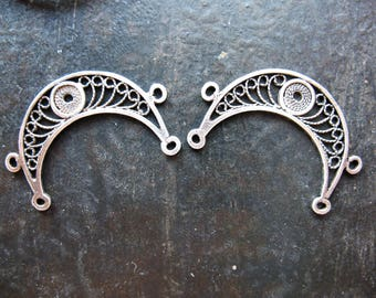"""Antiqued Sterling Silver Filigree Crescents - 1x.75"""" - 1 Pair"""