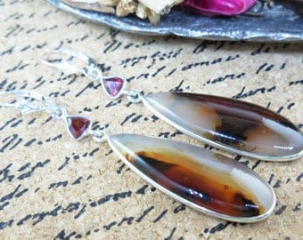 Montana agate & garnet sterling silver earrings
