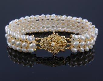 Handwoven freshwater pearl w/vermeil crystal clasp bracelet