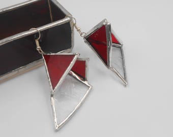 Red Stained Glass Triangle 3-D Sculpture Earrings