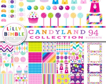 Candyland Collection digital paper and clipart, candy, gumball, lollipops, scrapbook, birthday, cupcakes, instant download, commercial use