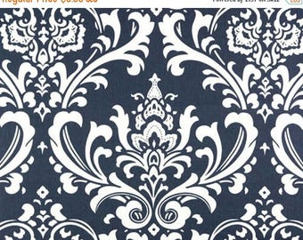 ON SALE - 10% Off Premier Prints Ozborne Navy Blue White Damask Twill Home Decorating Fabric BTY