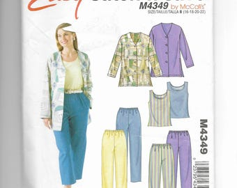 McCall's Misses' /Petite Miss Unlined Jacket, Capri Pants, Top and Pants Pattern 4349