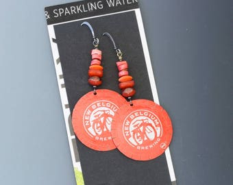 Bottle cap earrings. New Belgium. Long earrings. Reuse. Recycle. Upcycle. Bicycle earrings. Bicycle jewelry.