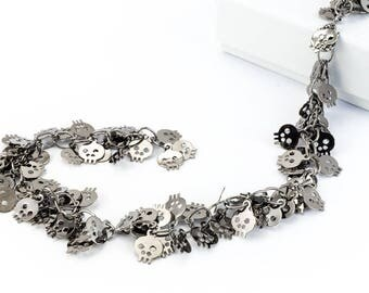 Gunmetal 6mm Dangle Skull Chain #CC107
