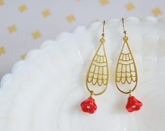 scandinavian whimsy teardrop brass and red flower dangle earrings- holiday style- hygge