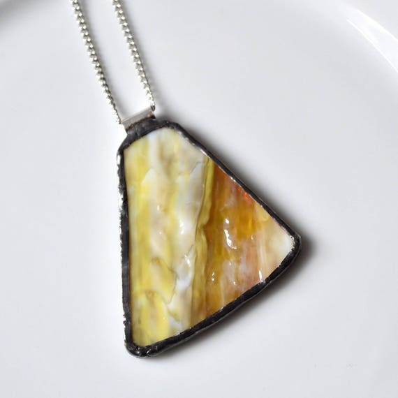 Recycled Stained Glass Jewelry Pendant - Yellow