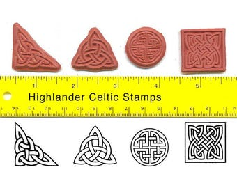 Celtic Knot Unmounted Rubber Stamp Set Four Celtic Knot Outlines Square Round Triquetra Corner  #USS19