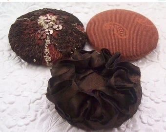 CLEARANCE - Brown buttons, fabric covered buttons , embroidered buttons, size 75 buttons
