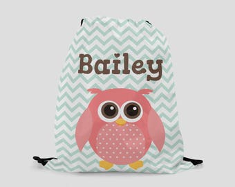 Owl Backpack for Kids - Personalized Drawstring Bag with Pink Owl - Pool Bag - Ballet Bag - Sports Bag - Custom Bag with Child's Name
